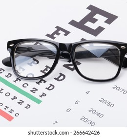 Eyesight test table and classic glasses over it - close up shot
