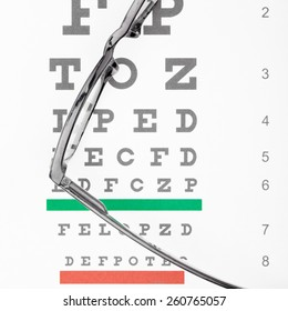 Eyesight test table and glasses