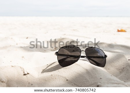 ddfa4e16dcae Eyewear Placed On Sand Beach Stock Photo (Edit Now) 740805742 ...
