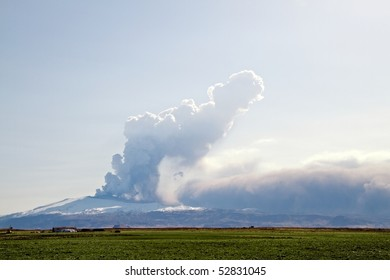 The Eyjafjallajokull glacier and volcano in southern Iceland. The volcano erupted in March 2010. The ash cloud from the eruption has caused cancellation of flights all over the world.