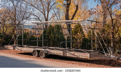 Eymir,Ankara / Turkey - November, 09-2019 : The transport trailer for racing canoe