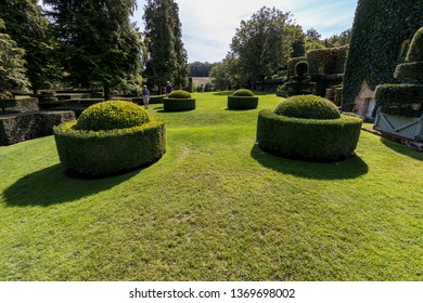 Eyrignac, France - September 2, 2018: The picturesque Jardins du Manoir d Eyrignac in Dordogne. France