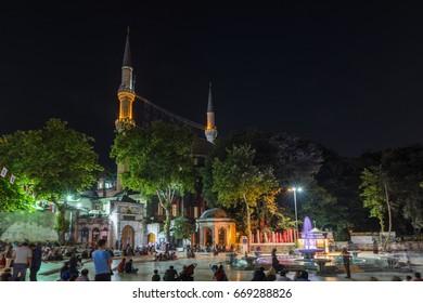 Eyup Sultan Mosque at night. Istanbul, Turkey.