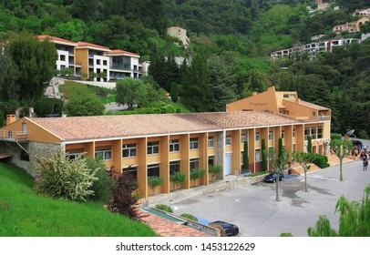 EZ, FRANCE, PROVENCE - MAY 26, 2019: view to Fragonard perfume and cosmetics factory in the village of Eze, Provence