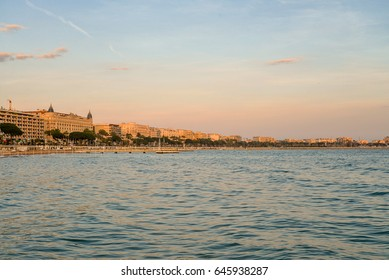 EZE, FRANCE -  April 12, 2017: Cannes bay at sunset with beautiful cityscape, french riviera France