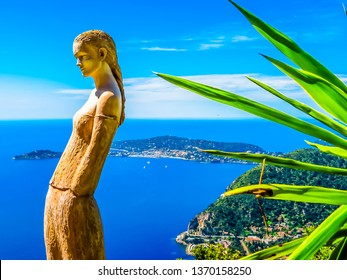 EZE VILLAGE, FRANCE - MAY 06, 2013: Aerial view of the Mediterranean coastline from the top of the Eze village. Provence, France