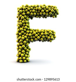 F letter made of little yellow balls