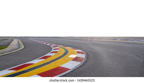 F1 racing track with empty white background