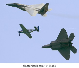 f15,f22 and p51 in trio flight