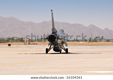 F 16 Fighter Jet Taxis Before Takeoff Stock Photo (Edit Now
