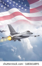 F-16 Fighting Falcon military jets (models) fly through clouds with American flag