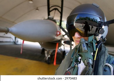 """F-16 """"fighting falcon"""" a pilot. Please note: cloned out some of the numbers and the unit tags in order to prevent identification."""