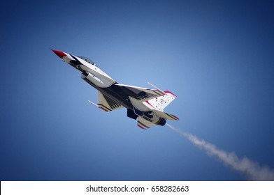 F-16 Fighting Falcon of the United States Air Force Thunderbirds Performs at Scott Air Force Base on 10 June 2017 for the 100th Anniversary Airshow. Photo By: Philip Rozenski of Shiloh, IL