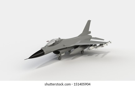 F16 loaded on the ground isolated on white