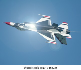 F16 Thunderbird in a aerial display involving the downside up maneuver. The F-16 Fighting Falcon is a multirole jet fighter aircraft