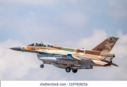 "An F-16D ""Barak"" is about to land at Ramat David airbase"
