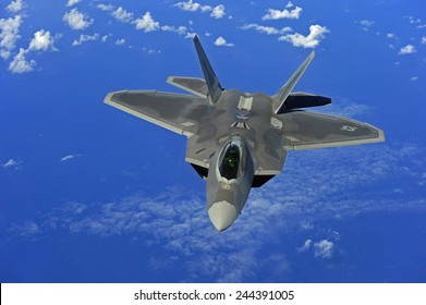 F-22 Raptor fighter flies near Guam. Introduced in 2005 it has speed agility precision stealth technology and a price tag of 150 million. Feb. 16 2010.