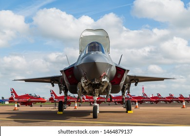 F-35 Lightning II in front of the Red Arrows captured at the 2016 Royal International Air Tattoo at RAF Fairford.