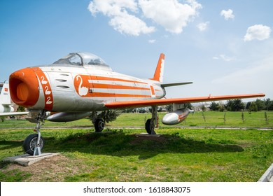 F-86 E (M) Sabre (Canadair CL. 13) on display in the Military Aviation Museum in Ankara. F-86 E   Fighter Interceptor aircraft introduced in 1951 by Canadair. 14.April.2019 Ankara, Turkey