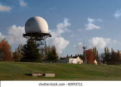 An FAA radar dome, built in 1959, at Fort Lawton, a closed United States Army base in Discovery Park, Seattle, Washington.
