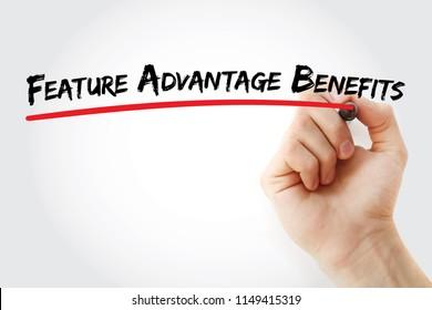 FAB - Feature Advantage Benefits acronym, business concept background