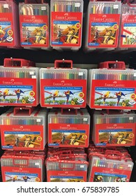 Faber Castell colour pencils in box display at supermarket. Sabah July 2017