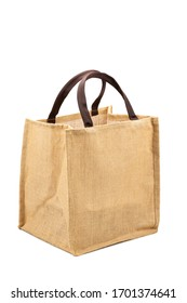 Fabric bag made from hessian sack with handle isolated on white background