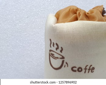 Fabric Bag With Picture Of A Cup And Misspelled Word Coffe On White Background