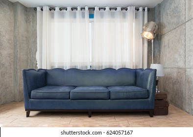 Fabric blue sofa in living room