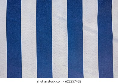 Fabric with blue and white stripes