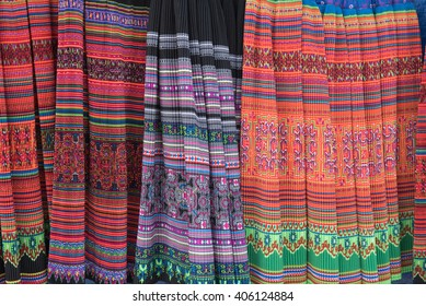 Fabric with colorful pattern, background and texture