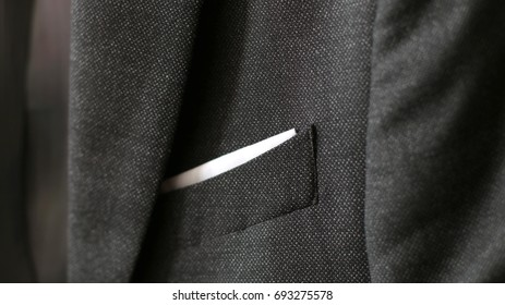 fabric Detail closeup close-up of jacket pocket fashionable background for your message