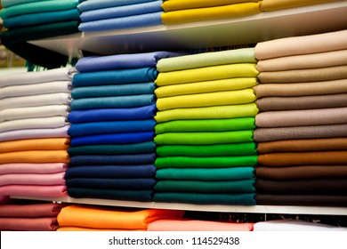 fabric of different colors in the stores