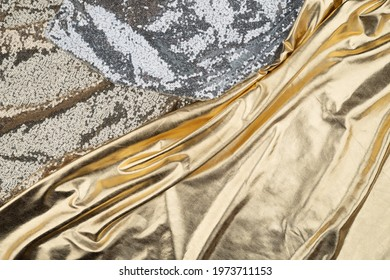 Fabric drapery backdrop abstract background. Shapeless empty surface. luxury metallic elegance brocade  texture with folds. Сopy space for design