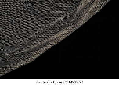 Fabric drapery backdrop abstract background. Gold, platinum, liquid metal, silk, copper tulle, mesh, net. Shapeless empty surface. Сopy space for design