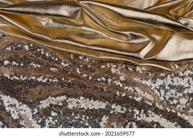Fabric drapery gold backdrop abstract background. Shapeless empty surface. luxury metallic elegance brocade  texture with folds. Сopy space for design