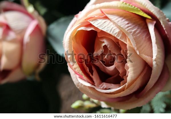 Fabric Fake Pink Rose Flower