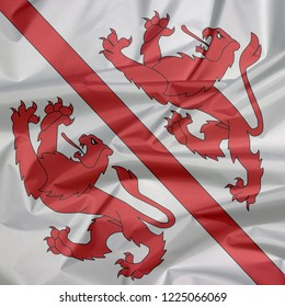 Fabric flag of Winterthur. Crease of Winterthur flag background, The city in the canton of Zurich in Switzerland Confederation.