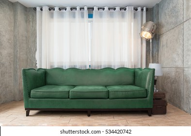 Fabric green sofa in living room