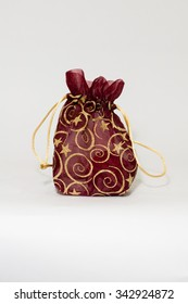 Fabric India jewelry bag in isolated.