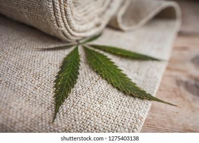 Fabric made from hemp. Cannabis fibers