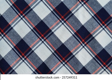 Fabric plaid texture, blue, red and white