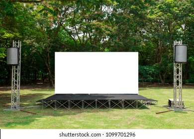 Fabric Pop Up basic unit Advertising banner media display backdrop, empty background in garden