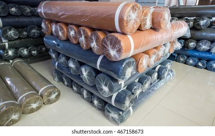 fabric rolls with plastic cover