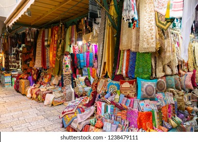 Fabric shop in the bazaar, Old City of Jerusalem
