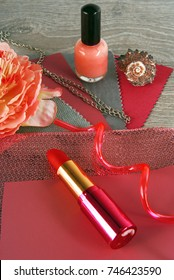 fabric swatches and accessories designing combine the colors