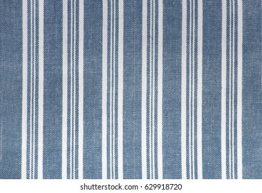 Fabric / textile - Linen / Cotton striped - Blue and white stripes - Background texture structure