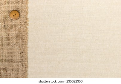 Fabric textile texture with Burlap and Sewing button background