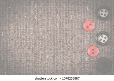 Fabric texture with buttons. Abstract background, empty template. Top view.