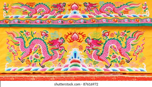 fabric texture of chinese golden dragons and flowers